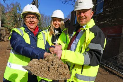 Cllr Gail Harris left Kelly Biddle and Paul Pitcher cut the first sod at Cowgate in Norwich sm